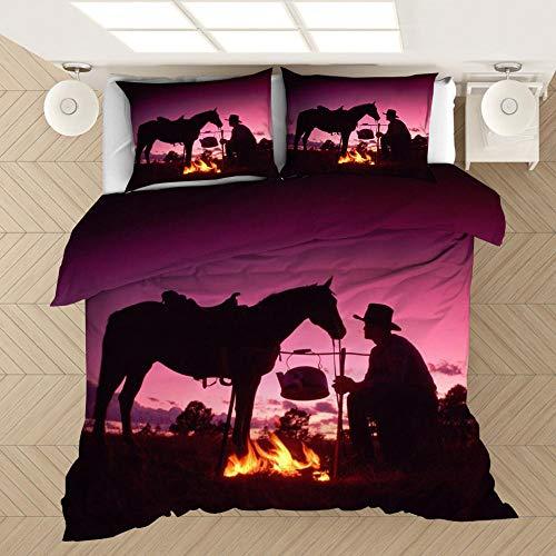 Juego de cama de mezclilla impresa en 3D, funda nórdica para niños adultos y adolescentes, funda nórdica con patrón de mezclilla occidental ropa de cama textiles para el hogar-B_180x210cm (3pcs)