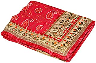 SAMUDRA Collection Women's Georgette Traditional Rajasthani Bandhani Heavy Border Saree with Blouse Piece (Red)