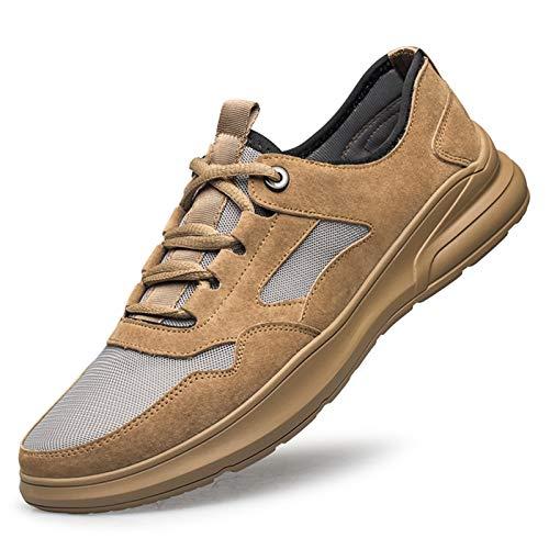 Zapatos de hombre de cuero, casual, vestido formal Zapatos deportivos para hombres, zapatos de cordones al aire libre de gamuza, para redes de grifos portátiles y costuras de punta redonda transpirabl