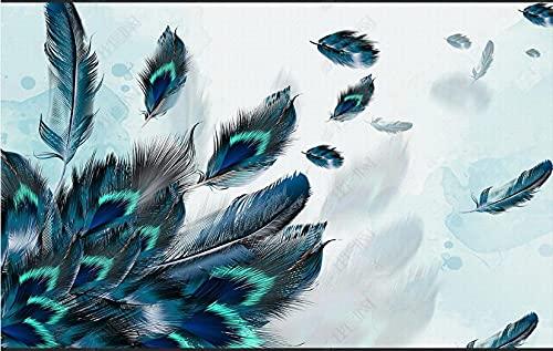 Papel De Pared 3D Tela No Tejida Papel Pintado Pluma Hermosa Artística Azul Papel Pintado Pared Mural Decorativo Salón Dormitorio 300x210cm