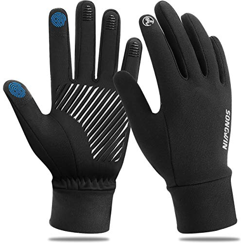 Touchscreen Handschuhe, Winterhandschuhe Herren Damen Fahrradhandschuhe Laufhandschuhe Warme Winddichte Sporthandschuhe Anti-Rutsch Full Finger für Laufen, Fahren, Radfahren, Wandern(M)