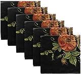 BONRI Juego de 6 servilletas de Tela Bordadas con Estampado Floral Calavera gótica Rosa Dia De Los Muertos servilletas de poliéster Lavables para Mesa de Comedor, Bodas, Fiestas de otoño20 X20