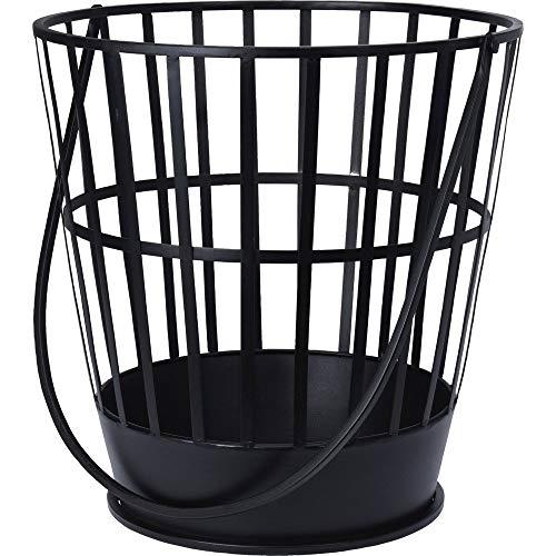 Lagerräumung - Feuerkorb rund 38xH39cm, Stahl pulverbeschichtet in Schwarz, inkl. Langen Tragegriff, Feuerstelle Holzkorb Tragekorb
