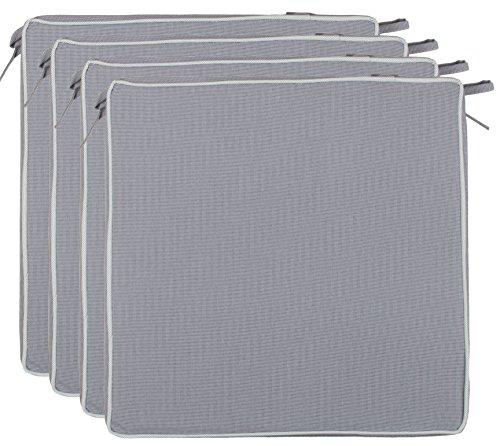 Brandsseller Outdoor Sitzkissen Kissen Dekokissen - Schmutz- und Wasserabweisend - 220 gr. Füllung - Größe: 40 x 40 x 4 cm (4er-Vorteilspack, Anthrazit - strukturiert)