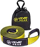 USWAY GEAR 3' x 20' Recovery Tow Strap - 30.000 LBS (15 US TON) Rated Capacity Heavy Duty Vehicle Tow Strap with Triple Reinforced Loops + Protective Sleeves + Free Storage Bag | Emergency Towing Rope