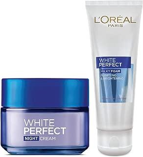 L'Oreal Paris White Perfect Night Cream, 50ml & White Perfect Milky Foam Facewash, 50ml, 100 ml (Pack of 2)