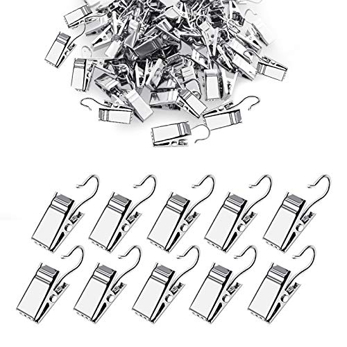 WeLiu Small Curtain Clips Hooks Heavy Duty Hook Clip Set, Clips for Outdoor String Lights,120 Pack Silver
