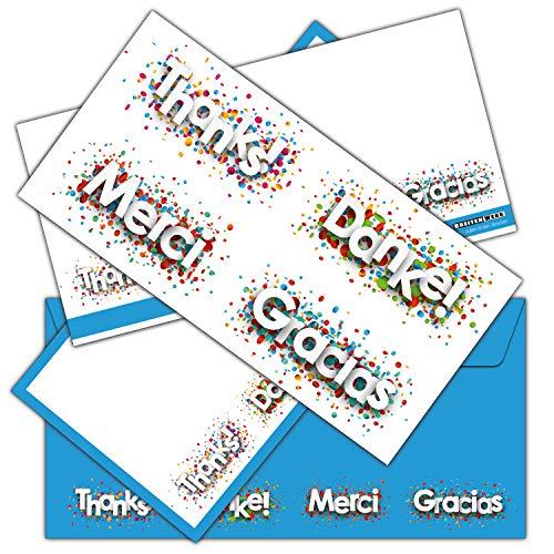 12-er Set DANKE-Karten inklusive passende Umschläge - Dankeskarten als Brief oder Postkarte nach Geburt, Hochzeit, Geburtstag - von BREITENWERK®