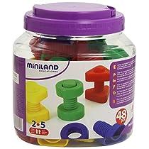 Miniland-Juego-para-Enroscar-Tornillos-Y-Tuercas-Multicolor-Talla-Unica-SI-M31721