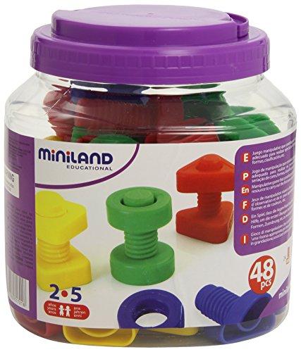 Miniland- Juego para Enroscar: Tornillos Y Tuercas, Multicolor, Talla Única (SI-M31721)