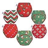 Skhls Weihnachtsstil Töpfchen Trainingshose für kleinkinder Waschbare Lernwindel (6pcs Rot, 5 Jahre)