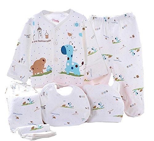Wangsaura - Set de ropa de algodón, para bebé, de 5 piezas: gorrito, babero, traje de pijama y pantalones, regalo para recién nacido, 0-3meses