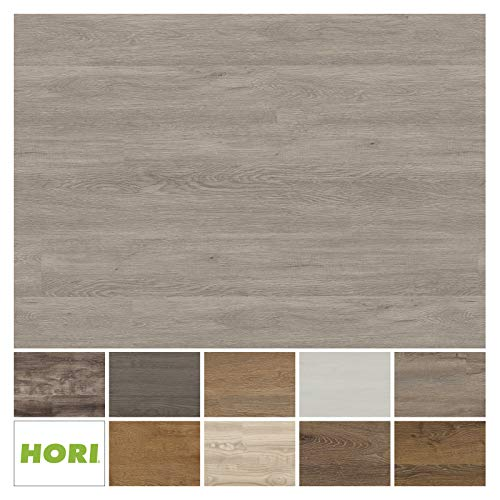 HORI® Klick Vinylboden PVC Bodenbelag I Wasserfest I viele Dekore wählbar I Eiche Basic Wuppertal I 16 Dielen im Paket = 2,25 m²