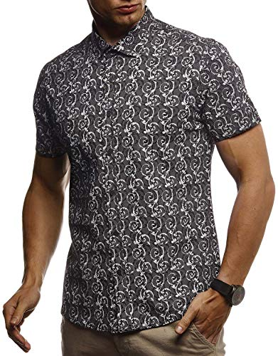 Leif Nelson Herren Hemd Kurzarm Slim Fit T-Shirt Kentkragen Stylisches Männer Freizeithemd Stretch Kurzarmhemd Jungen Basic Shirt Freizeit Sweater Sommerhemd LN3755 Schwarz X-Large