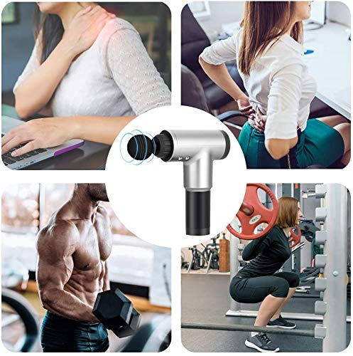 Percussion Massage Gun, 6 SpeedsRechargeable Handheld Deep Tissue Massager, Portable Body Muscle Massager with 4 Massage Heads for Relieve Muscle and Tissue Pain, Super Quiet