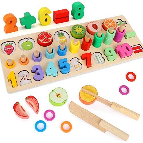 LBLA Juguetes de Madera Montessori Alimentos de Juguete para Niños Cortar,Rompecabezas de Números de Madera,Juguetes de Rompecabezas de Matemáticas