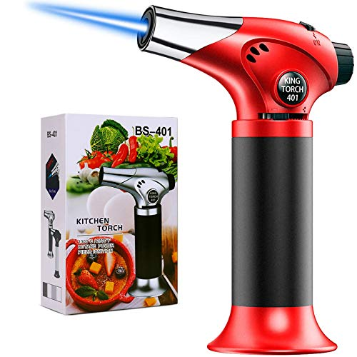QIBOX Butane Torch, Culinary Blow Torch Lighter, Refillable Mini Kitchen Cooking Torch with Safety Lock & Adjustable Flame for BBQ, Creme Brulee, Baking, Crafts (Butane Gas not Included)