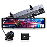 JOMISE G860 4K Mirror Dash Cam for Cars, 12' IPS Full Touch Screen, Waterproof Backup Rear View Mirror Camera, Sony Sensor, Super Night Vision, GPS Tracking, Loop Recording, Parking Monitor/Assist