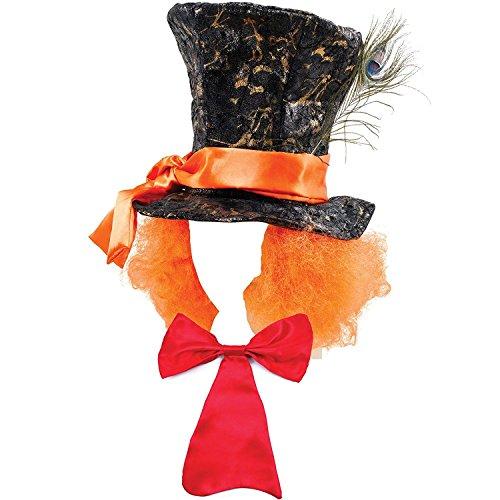 Mega_Jumble® Verrückter Hutmacher Alice im Wunderland Hut mit Haaren und roter langer Fliege Willie Wonka Kostüm Buchwoche