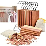 TIMESETL 12 Pack Cedar Hang Ups and 2 Pack Cedar Sachets Bags, 100% Natural Cedar Blocks with Light Cedar Fragrance Odor Protection for Wardrobes Closets and Drawers Freshener Clothes