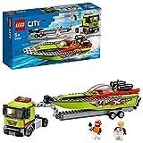 LEGO60254CityRennboot-TransporterLKW-SpielzeugmitAnhängerundSchnellboot,schwimmendesBadespielzeugfürKindervon5bis7Jahren