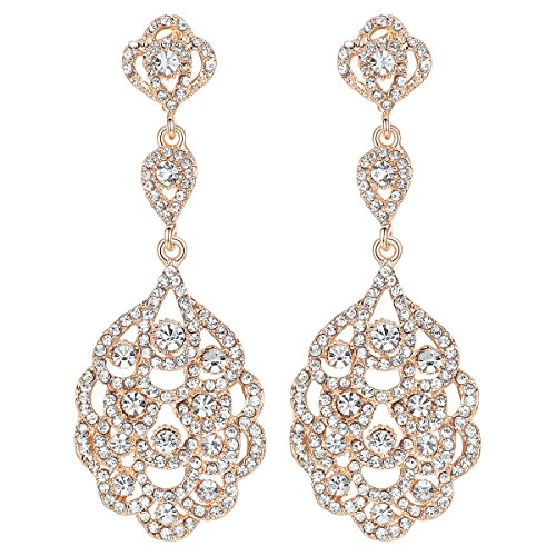 mecresh Wedding Teardrop Dangle Earrings Crystal Rhinestone Beaded Chandelier Earrings for Brides Gold