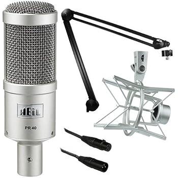 Heil Sound PR 40 Dynamic Cardioid Studio Microphone Bundle with PRSM Shock Mount, PL2T Overhead Studio and Broadcast Boom Mount and Microphone Cable (Champagne)