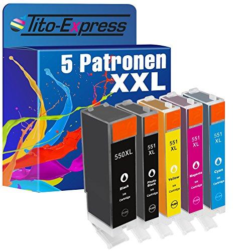 Tito-Express PlatinumSerie 5 Patronen kompatibel mit Canon PGI-550 CLI-551 XL | Geeignet für Pixma MG-5450 MG-5550 MG-5650 MG-5650 MG-5655 MG-6350 MG-6420 MG-6450 MG-6650 MG-7120 MG-7150 MG-7550