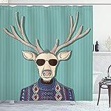ABAKUHAUS Hipster Duschvorhang, Karikatur Rentier mit Sonnenbrillen Ugly Sweater Retro, Hochwertig mit 12 Haken Set Leicht zu pflegen Farbfest Wasser Bakterie Resistent, 175 x 180 cm, Türkis Champagner