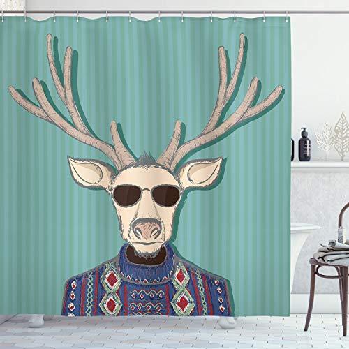 ABAKUHAUS Hipster Duschvorhang, Karikatur Rentier mit Sonnenbrillen Ugly Sweater Retro, Hochwertig mit 12 Haken Set Leicht zu pflegen Farbfest Wasser Bakterie Resistent, 175 x 200 cm, Türkis Champagner