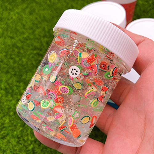 AGUIguo Crystal Slime Mud with Mini Sticker Slime Putty Toy,120ML Fluffy Slime Clays Molds Doughs Craft Supplies (Clear)
