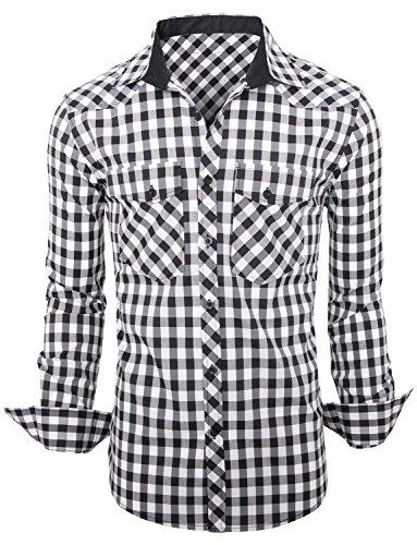 Newfacelook Élégant Designer Check Hommes Occasionnels Mince Amincissent Les Chemises habillées Belle Top Slim Fit Shirt Collection