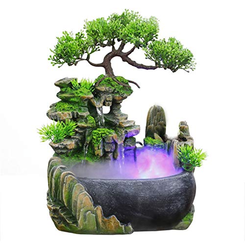 YAOLUU Fuente Agua Feng Shui Wealth Feng Shui Company Office Tabletop Ornaments Desktop Flowing Water Water Fountain con Color Cambiando LED Lights Spray Bonsais Naturales Interior
