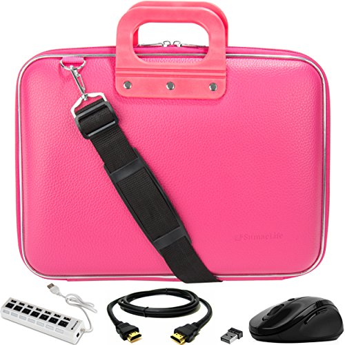 SumacLife Cady Pink Laptop Bag w/ HDMI Cable, USB Hub, & Mouse for Fujitsu LifeBook / Stylistic 13' to 14inch