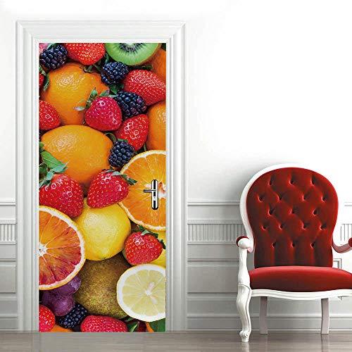 3D Mural para Puerta 95X215Cm Autoadhesivo Impermeable Papel Pintado Puerta para Sala de Estar Baño Extraíble Vinilo Adhesivo de Pared,DIY Decoración del Hogar - Fruta