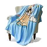 SimbaDeco Girl Decorative Sofa Bedding Throw Blanket for Couch Cute Cartoon Shar Pei Dog Rainbow Unicorn Blankets Super Soft Warm Flannel Plush Sherpa Fleece 50x70 Inch Blue