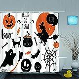SUHOM Cortina de Ducha,Halloween Set Murciélagos Araña Calabazas Bruja,Tejido de poliéster - con Gancho,180x180