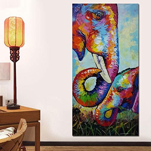 DIY 5D Diamant Painting Bilder Voll Kit,Colouful Elefant Diamant Malerei Groß Kreuzstich Kristall Strass Malen nach Zahlen Stickerei Kunst Handwerk für Home Wand Dekor geschenk 100x200cm/40x80in T4335