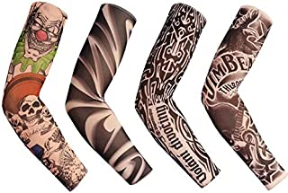 Cheapar Tattoo Sleeves for Men Women,4Pcs Arm Sleeves,Fake Piercings Temporary Tattoos Cover Up Sleeves,Unisex men gril Tattoos Cover Up Sleeves (A)