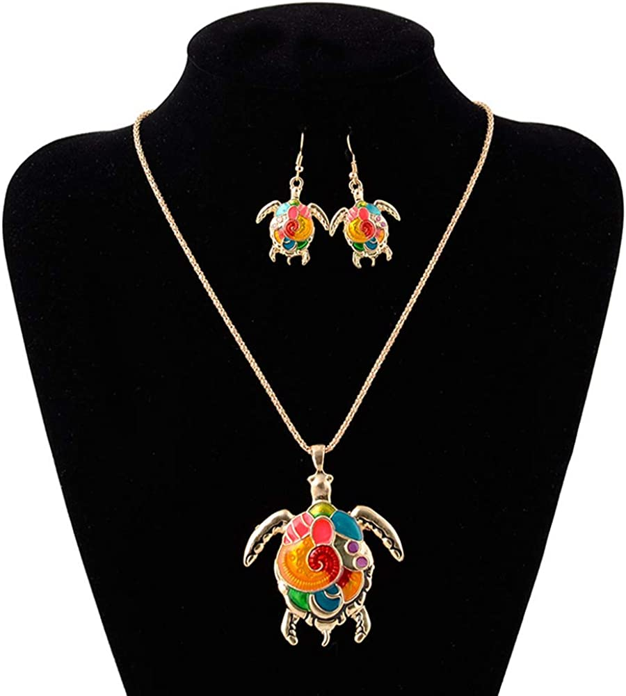 Fashion Women's Jewelry Set,Enamel Turtle Pendant Chain Necklace Hook Earrings Jewelry Set - Golden