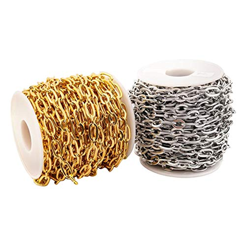 Hellery 3,28 pies de acero inoxidable enlace Cable cadena extensor conector encantos para hombres mujeres joyería cadena DIY Fabricación (2 rollos/paquete)