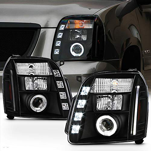 ACANII - For 2007-2013 GMC Yukon Denali XL 1500 2500 SUV LED Halo Black Housing Projector Headlights Headlamps Assembly