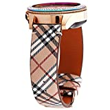 Greaciary Glitter Band Compatible with Samsung Galaxy Watch 3 41mm/Galaxy Watch 42mm,Active 40mm/Active 2 44m Sparkle Bling Leather Strap Wristband for Samsung Galaxy 20mm Smartwatch Women Girls Plaid