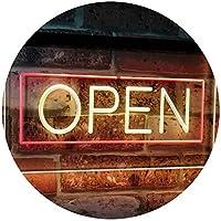 OPEN Shop Display Rectangle Dual Color LED看板 ネオンプレート サイン 標識 赤色 + 黄色 600 x 400mm st6s64-i2019-ry