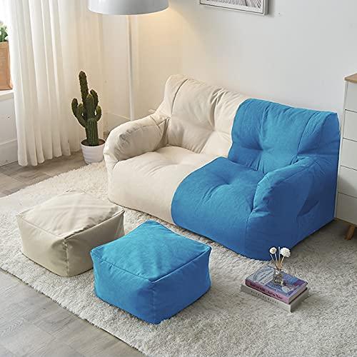 Sedia per Divano Pigro Fodera Fodera per Pouf a Pera (Senza Imbottitura) Ideale per Interni e Soggiorno Poltrona a Sacco Copri Lazy Bag,Beige Blue Stitching