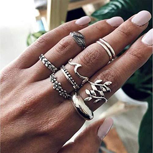 TseenYi Boho Leaf Knuckle Rings Silver Punk Thick Rings Set Apilamiento Retro...