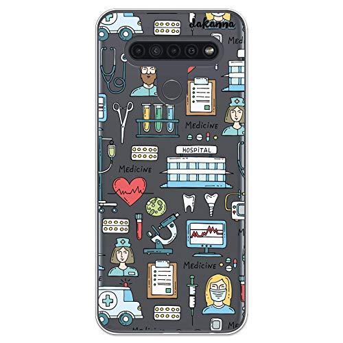 dakanna Funda para [ LG K41S - K51S ] de Silicona Flexible, Dibujo Diseño [ Simbolos Medicina Enfermera Ambulancia Corazón Hospital ], Color [Fondo Transparente] Carcasa Case Cover de Gel TPU
