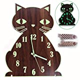 Lantoo Night Light Wall Clock, Luminous Wall Clock with Numerals & Hands Glow in Dark, Cat Wooden...