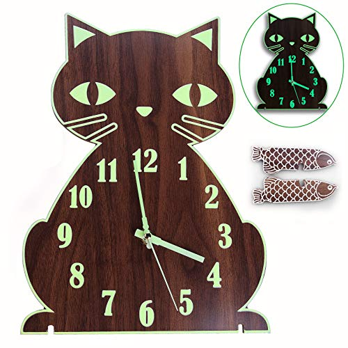 Lantoo Night Light Wall Clock, Luminous Wall Clock with Numerals & Hands Glow in Dark, Cat Wooden Wall Clock Decorative, Entirely Silent & Battery Operated for Kitchen Living Room Bedroom