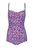 Glam and Gloria Bañador de mujer azul claro con estampado de estrella de mar roja y fruncido en el vientre. azul 34